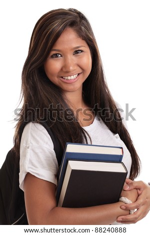 Malaysian college student with books and backpack isolated on a white background - stock photo