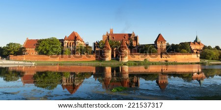 Malbork castle, Teutonic Knights' fortress also known as Marienburg, UNESCO World Heritage Site, Poland. - stock photo