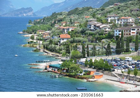 Malcesine - a beautiful relaxed town at lake Garda, Italy  - stock photo