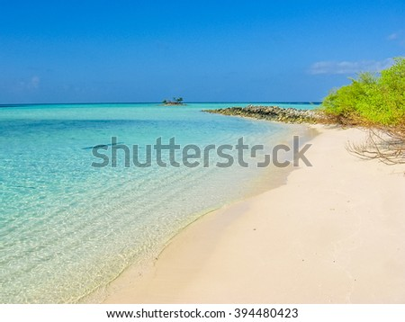Maldives, Atoll, Indian Ocean. Palm trees on the white sand beach. Turquoise water of the lagoon. Asdu in Male North. - stock photo