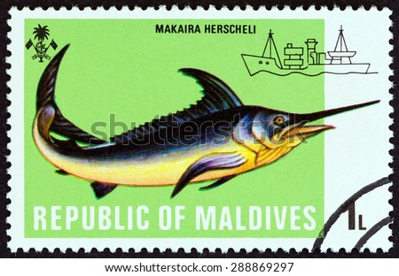 """MALDIVES - CIRCA 1973: A stamp printed in Maldives from the """"Fishes """" issue shows Marlin (Makaira herscheli), circa 1973. - stock photo"""