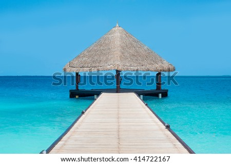Maldives. Expensive luxury vacation. Ocean view. Water bungalows view. - stock photo