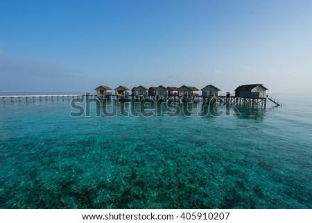 Maldives island, water villas resort - stock photo