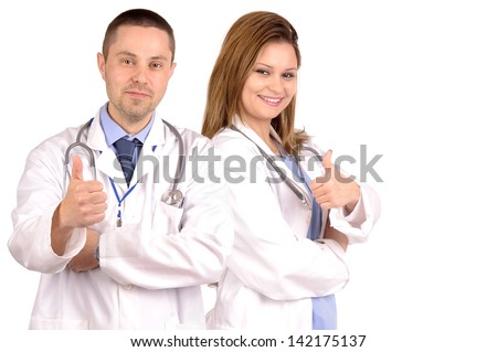 male and female doctors isolated in white - stock photo