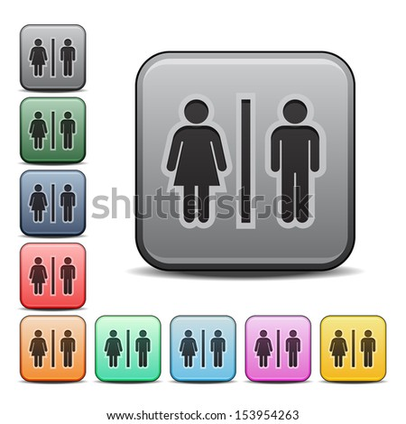 Male and Female Figures Restroom Symbol Icon Square Icon in Various Colors.  Raster version. - stock photo