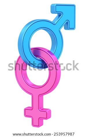 Male and female gender symbols chained together on white background. High resolution 3D image - stock photo