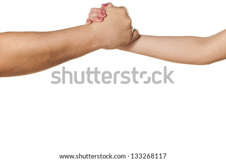 male and female hand to shake hands, or wrestling on white background - stock photo