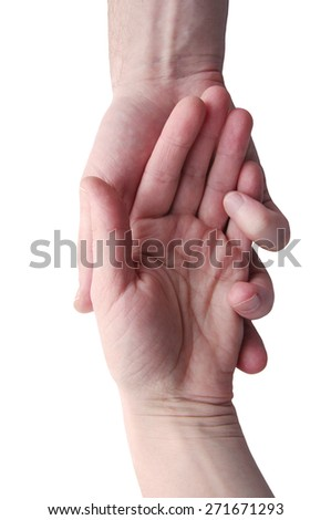 Male and female hands are together isolated on a white background. A hand in a hand - stock photo
