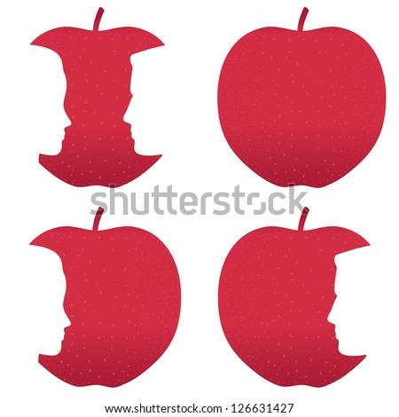 Male and female profiles bitten out of a red apple. - stock photo