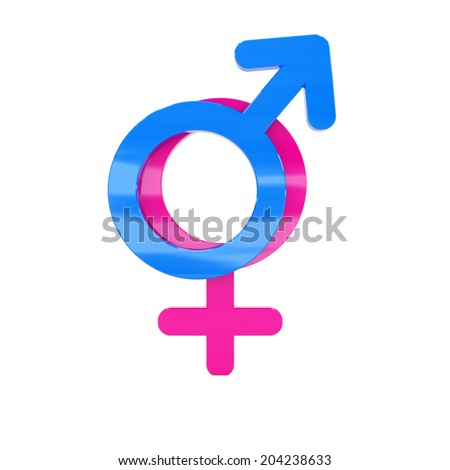 Male and female signs isolated at white background - stock photo