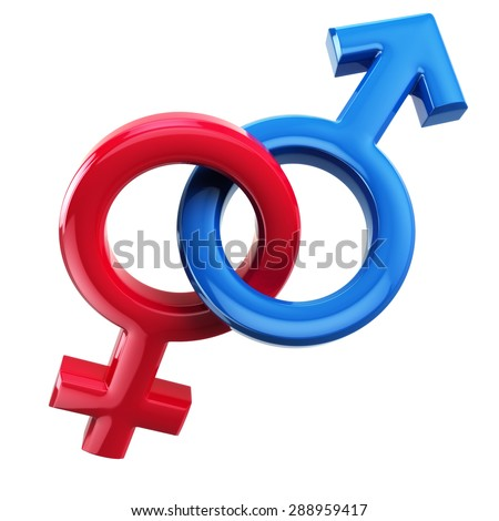 Male and female signs isolated on white. Mars and Venus. 3d - stock photo