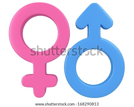 Male and female signs on white background. 3D render. Gender, sex, love, man and woman concept. - stock photo