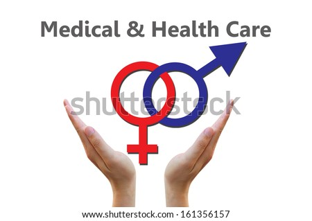 Male and female symbols combination for medical and healthcare concept - stock photo