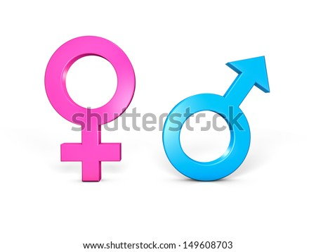Male and Female symbols. Isolated in white - stock photo