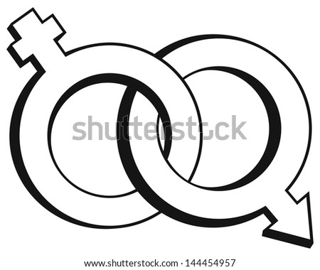 Male and female symbols isolated on white background. Raster version - stock photo
