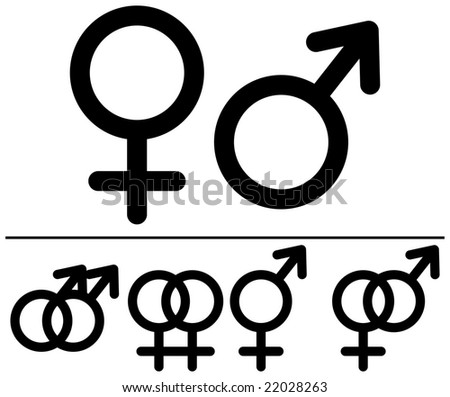 Male and  female symbols. Raster illustrations. Black-and-white contour. Combinations. - stock photo