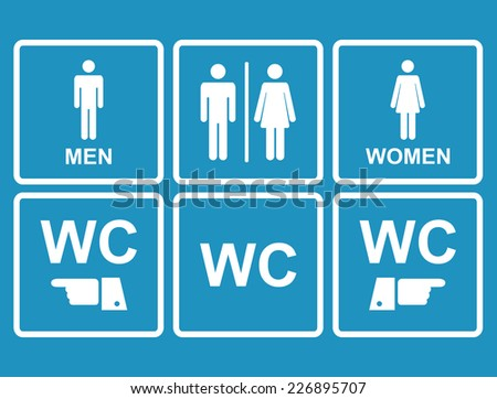 Male and female WC icon denoting toilet and restroom facilities for both men and women with black male and female,hand,pointer, silhouetted figures - stock photo