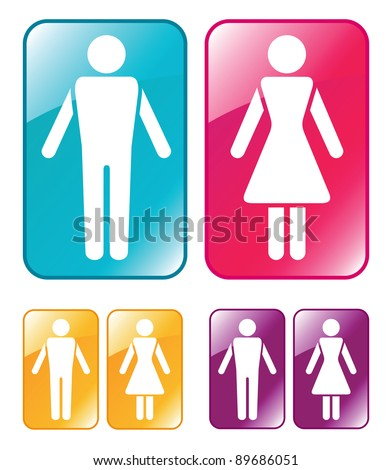 Male and female WC sign.  Raster version. - stock photo