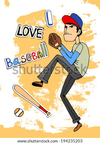 Male baseball player in a - I Love baseball - card design with a fielder about to throw a ball  illustration - stock photo