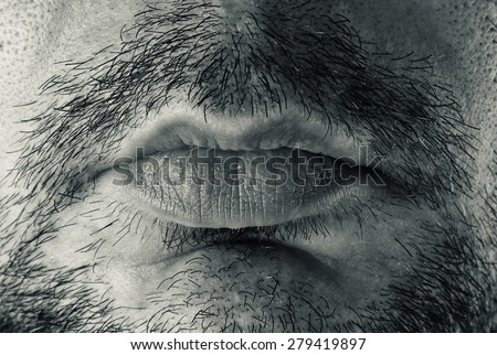 male bearded mouth closeup - stock photo