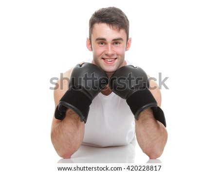 Male boxer isolated on white - stock photo