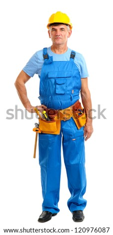 Male builder in yellow helmet isolated on white - stock photo