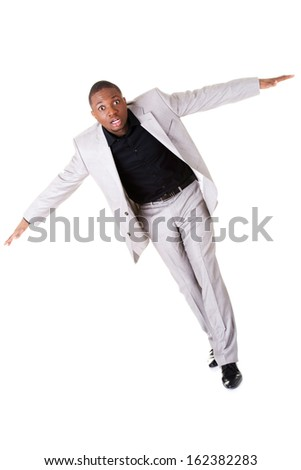 Male businessman with spread arms. Isolated on white.  - stock photo