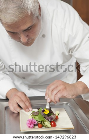 Male chef arranging edible flowers on salad in commercial kitchen - stock photo