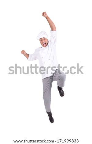 Male chef jumping high isolated in white - stock photo