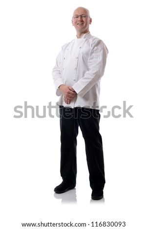 Male chef smiling isolated on white - stock photo