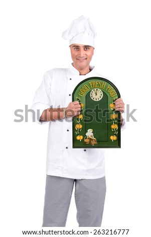Male Chef with a menu board  - stock photo