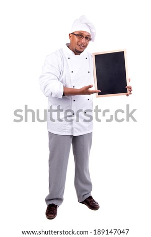 Male chef with menu board isolated in white - stock photo