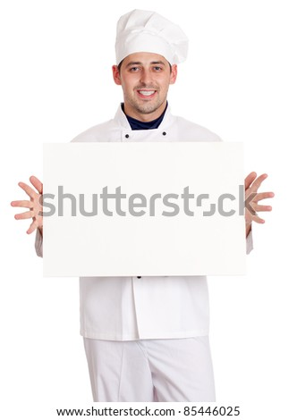 Male chef with menu. isolated over white background - stock photo