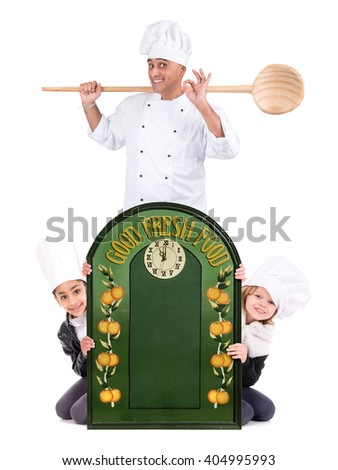 Male chef with young chefs isolated on white background - stock photo