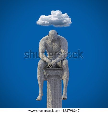 Male clay statue sitting on pillar 3D / cloud over head - stock photo