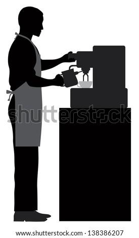 Male Coffee Barista Silhouette Making Espresso and Steaming Milk with Espresso Machine Raster Vector Illustration - stock photo