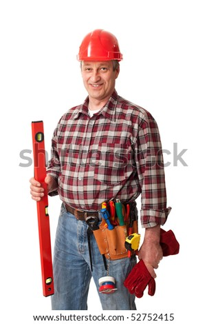 male construction worker isolated on white background - stock photo