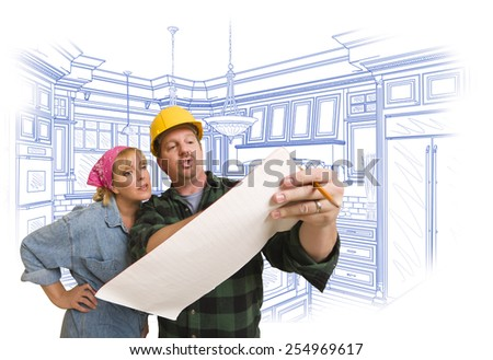 Male Contractor in Hard Hat Discussing Plans with Woman, Kitchen Drawing Behind. - stock photo