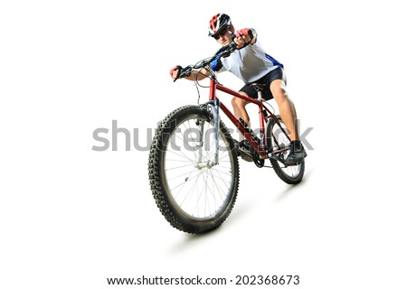 Male cyclist riding a mountain bike isolated on white background - stock photo