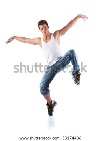 Male dancer. Isolated on white. - stock photo