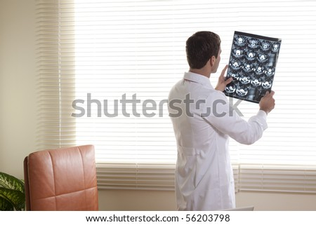 Male Doctor Examining CAT scan - stock photo