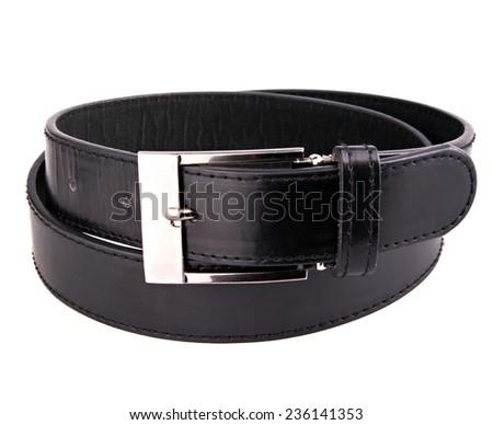 Male elegant black leather belt isolated on the white - stock photo