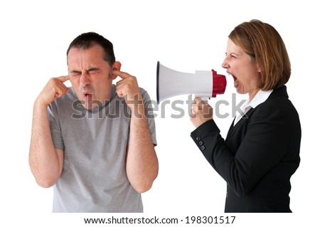male employee being yelled at by female manager on white - stock photo