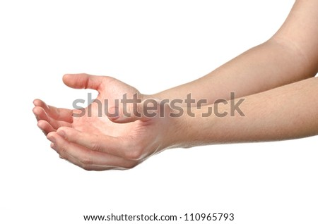 Male empty cupped hands isolated on white background - stock photo