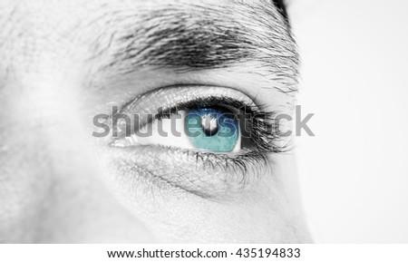 Male eye macro shot - stock photo
