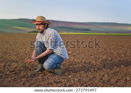 Male Farmer Examines Soil Quality on Fertile Agricultural Farm Land, Agronomist Checking Soil in Hands - stock photo