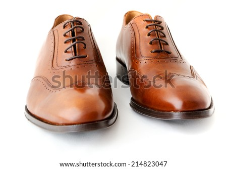 Male fashion shoes on white - stock photo