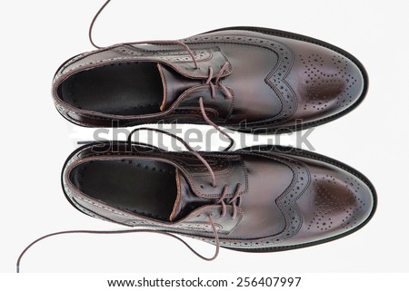 Male fashion with shoes on white top view - stock photo