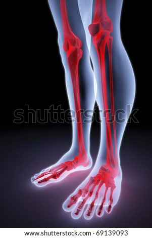 male feet under the X-rays. bones are highlighted in red. - stock photo