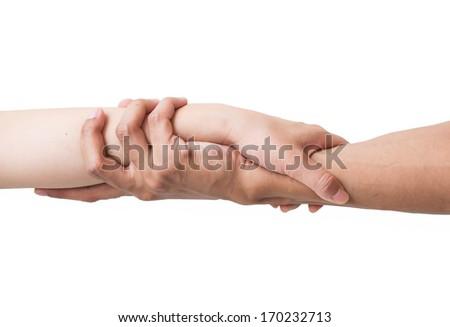 Male Female hands handshake isolated on white background. - stock photo